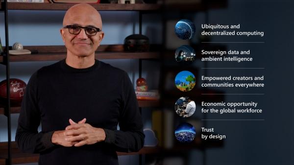 사티아 나델라 마이크로소프트 CEO가 이그나이트 2021에서 기조연설을 하고 있다. [사진제공=마이크로소프트]